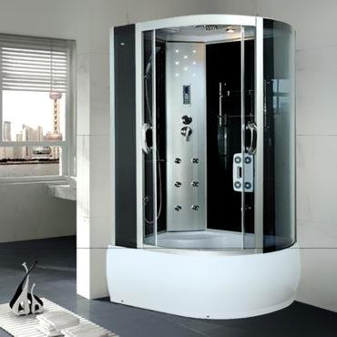 長型淋浴房110x80黑鏡面玻璃豪華型整體淋浴房,電腦控制頂噴側噴椅座腳療LED燈高底缸頂蓋 BS1180