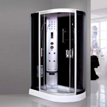 黑鏡面玻璃120x80豪華型整體淋浴房,電腦控制頂噴側噴椅座腳療LED燈底缸頂蓋可加裝蒸汽spa BS1284