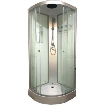 平價淋浴房乾濕分離白鏡面玻璃80x80整體淋浴房,全套五金含頂底蓋頂噴手持花灑 BS2008