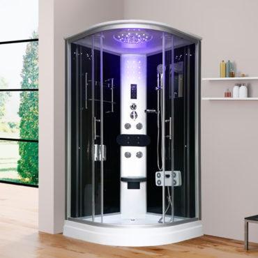 淋浴艙淋浴模組90x90豪華型整體淋浴房黑鏡面玻璃,電腦控制頂噴側噴椅座腳療LED燈底缸頂蓋可加裝蒸汽spa BS2040