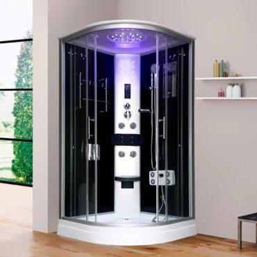 淋浴艙淋浴模組100x100豪華型整體淋浴房黑鏡面玻璃,電腦控制頂噴側噴椅座腳療LED燈底缸頂蓋可加裝蒸汽spa BS2041