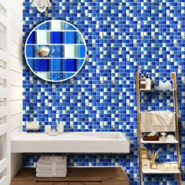進口玻璃馬賽克獨特新系列貝殼藍尺寸30公分安裝簡單 DM1301