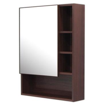 鋁合金烏木紋浴室鏡櫃,防火防水不生鏽,60x80cm牆掛式鏡櫃。含收納空間收納方便。 MN6080