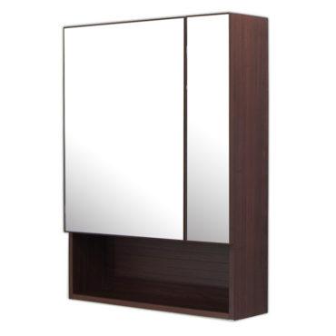 鋁合金烏木紋浴室兩面鏡鏡櫃,防火防水不生鏽,60x80cm牆掛式鏡櫃。含收納空間收納方便。 MN6081