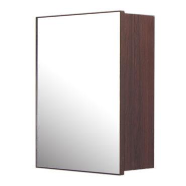 鋁合金烏木紋浴室三面鏡鏡櫃,防火防水不生鏽,40x54cm牆掛式鏡櫃。含收納空間 MN7341