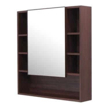 鋁合金烏木紋浴室鏡櫃,防火防水不生鏽,75x80cm牆掛式鏡櫃。含收納空間收納方便。 MN7580