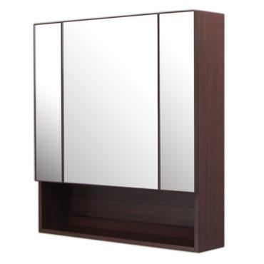鋁合金烏木紋浴室三面鏡鏡櫃,防火防水不生鏽,75x80cm牆掛式鏡櫃。含收納空間收納方便。 MN7581