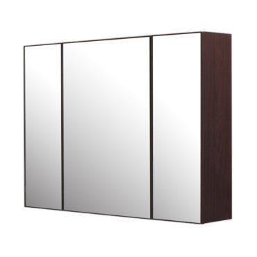 鋁合金烏木紋浴室三面鏡鏡櫃,防火防水不生鏽,90x65cm牆掛式鏡櫃。小物收納方便。 MN9061
