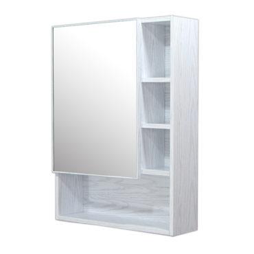 鋁合金水曲柳木紋浴室鏡櫃,防火防水不生鏽,60x80cm牆掛式鏡櫃。含小物收納空間方便。 MQ6080