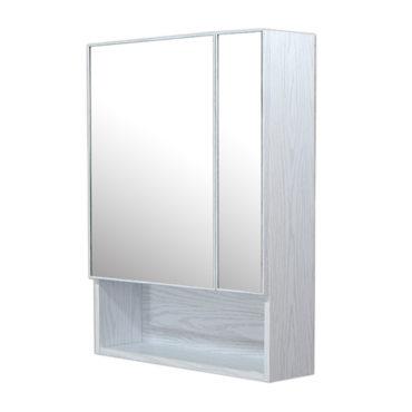 鋁合金水曲柳木紋浴室兩面鏡鏡櫃,防火防水不生鏽,90x65cm牆掛式鏡櫃。收納空間方便。 MQ6081
