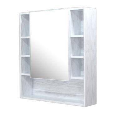 鋁合金水曲柳木紋浴室鏡櫃,防火防水不生鏽,75x80cm牆掛式鏡櫃。含小物收納空間方便。 MQ7580