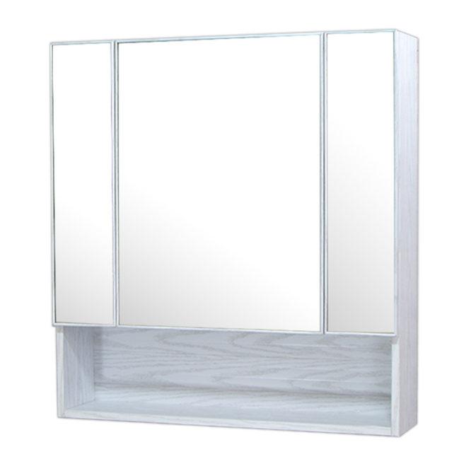 鋁合金水曲柳木紋浴室三面鏡鏡櫃,防火防水不生鏽,75x80cm牆掛式鏡櫃。收納空間方便。 MQ7581