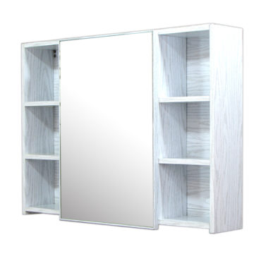 鋁合金水曲柳木紋浴室鏡櫃,防火防水不生鏽,90x65cm牆掛式鏡櫃。含小物收納空間方便。 MQ9060