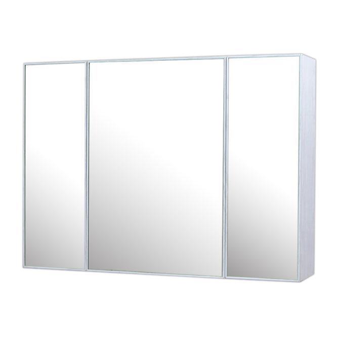 鋁合金水曲柳木紋浴室三面鏡鏡櫃,防火防水不生鏽,90x65cm牆掛式鏡櫃。收納空間方便。 MQ9061