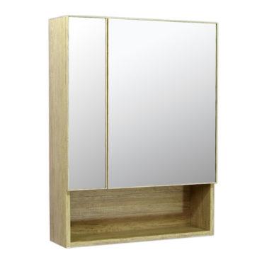 鋁合金原木紋浴室兩面鏡鏡櫃,防火防水不生鏽,60x80cm牆掛式鏡櫃。含收納空間 MR6081