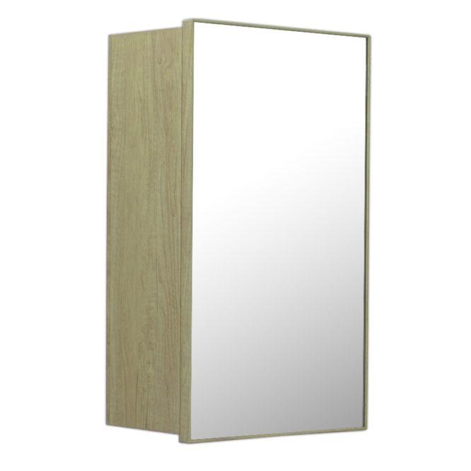 鋁合金原木紋浴室鏡櫃,防火防水不生鏽,34x54cm牆掛式鏡櫃。含收納空間,收納方便。 MR7331