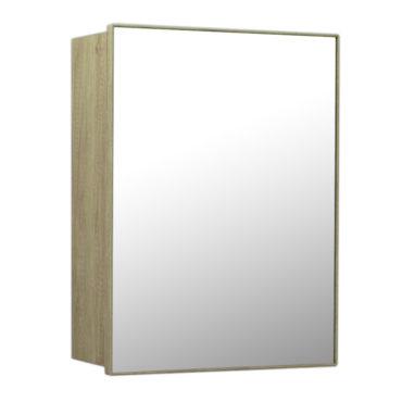 鋁合金原木紋浴室鏡櫃,防火防水不生鏽,40x54cm牆掛式鏡櫃。含收納空間,收納方便。 MR7341