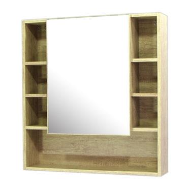 鋁合金原木紋浴室鏡櫃,防火防水不生鏽,75x80cm牆掛式鏡櫃。含收納空間。 MR7580