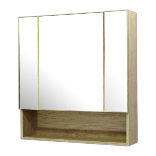 鋁合金原木紋浴室三面鏡鏡櫃,防火防水不生鏽,75x80cm牆掛式鏡櫃。含收納空間 MR7581