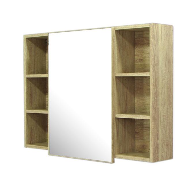 鋁合金原木紋浴室鏡櫃,防火防水不生鏽,90x65cm牆掛式鏡櫃。含收納空間。 MR9060