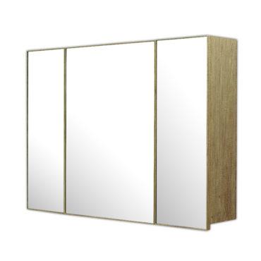 鋁合金原木紋浴室三面鏡鏡櫃,防火防水不生鏽,90x65cm牆掛式鏡櫃。含收納空間 MR9061