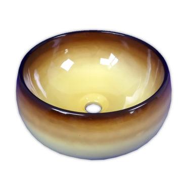 410x410最新設計黃棕釉腰鼓型花色盆,搭配檯面、浴櫃使用,最新現代化設計 SL37G0