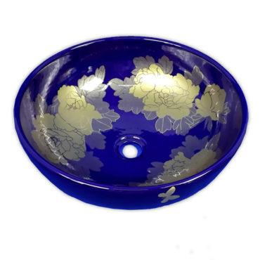 415x415京唐燒,來自景德鎮,燒青團花圓形藝術盆,五大古窯源遠流長,歐美新流行 SL37K0