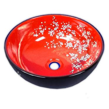 350x350京唐燒,來自景德鎮,黑紅櫻花圓形藝術盆,五大古窯源遠流長,歐美新流行 SL37M0
