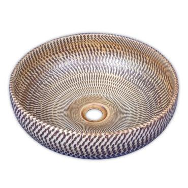 400x400京唐燒,來自景德鎮,棕刀痕圓形藝術盆,五大古窯源遠流長,歐美新流行 SL37R0