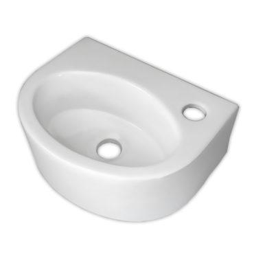 34x26橢圓陶瓷面盆洗手盆,掛牆可,小型營業公共場所洗手間適用,有龍頭座,不佔空間 SL9103