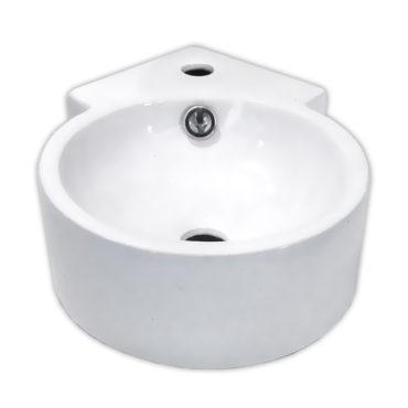 43x31角落圓形陶瓷面盆洗手盆,掛牆可,小型營業公共場所洗手間適用,有龍頭座 SL9133