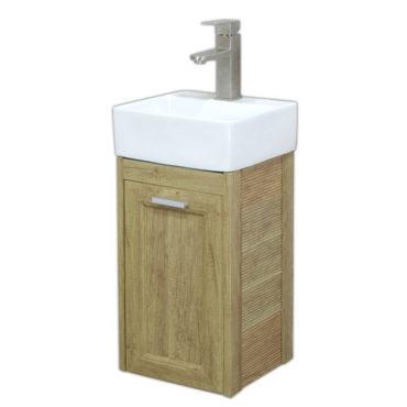 方形洗手盆櫃3D全鋁原木紋浴櫃含龍頭五金陽台小浴室輕隔間專用全防水環保材質 VR7312