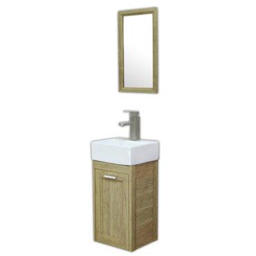 方形洗手盆櫃3D全鋁原木紋浴櫃含五金鏡子陽台小浴室輕隔間專用全防水環保材質 VR731B