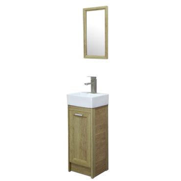 方形洗手盆櫃3D全鋁原木紋落地浴櫃含五金鏡子陽台小浴室輕隔間專用全防水環保材質 VR733B