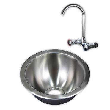 24cm直徑不鏽鋼單槽壓鑄廚房水槽,金屬下水零件出牆龍頭,全組搭配,居家裝潢翻新,耐用易清 WS2243