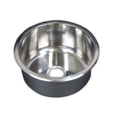30cm直徑不鏽鋼單槽壓鑄廚房圓型水槽,金屬下水零件,居家裝潢翻新,簡易安裝,耐用易清 WS2331